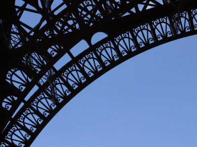 Detailed Picture  Eiffel Tower on Detailed Arch On The Eiffel Tower Against Blue Sky Photographic