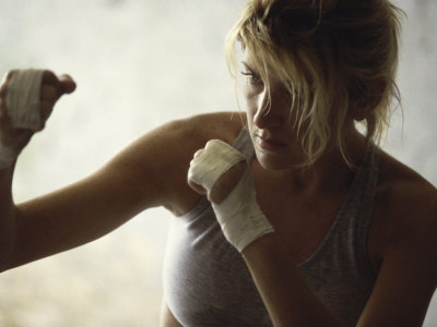 Female Boxer Practicing Photographic Print