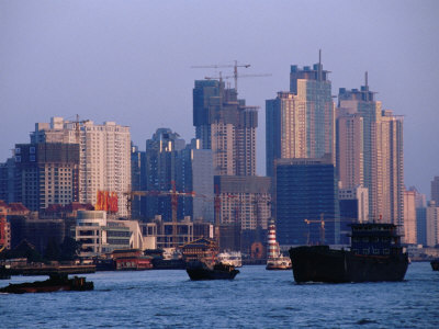 City Skyline and Construction, Shanghai, China Photographic Print by Phil Weymouth