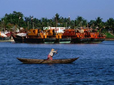 Row Boat Crossing Danang Harbour, Da Nang, Vietnam Photographic Print by Phil Weymouth