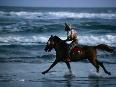 Boy Riding Pony on Beach Parangtritis, Central Java, Indonesia Photographic Print by Phil Weymouth