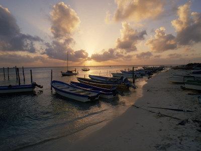 Fishing Boats at Sunset, Mexico Photographic Print by Dan Gair