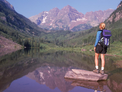 Woman Hiker at Maroon Bells, Aspen, CO Photographic Print by Cheyenne Rouse