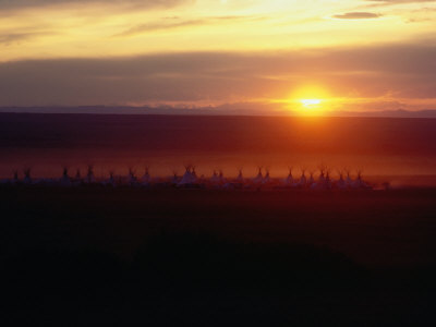 A Circle of Tepees is Set up for an Annual Sun Dance Ceremony Photographic Print by Sam Abell