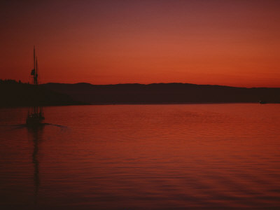 A Beautiful Red Twilight Settles over the Olympic Peninsula Photographic Print by Sam Abell