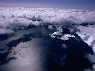 Aerial View of Crater Lake and Wizard Island Photographic Print by Sam Abell