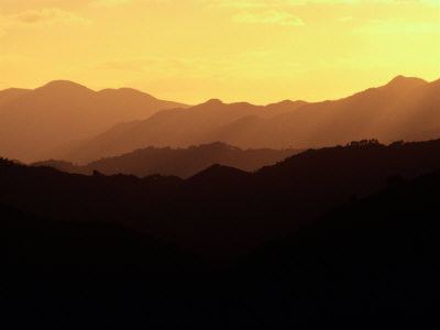Hazy, Twilight View of Silhouetted Ridges Photographic Print by Sam Abell