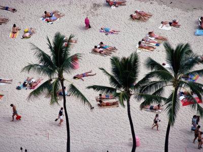 Sunbathers Enjoy a Beach in Hawaii Fotografisk tryk