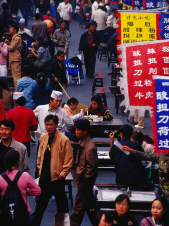 Crowds on Wangfujing Street in Dongcheng Bejing, China Photographic Print by Phil Weymouth