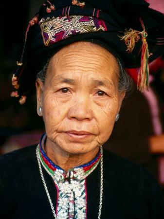 Thai Dam Woman, Looking at Camera, Muang Sing, Laos Photographic Print by Frank Carter