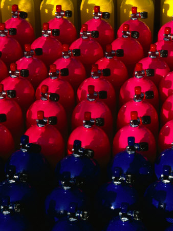 Rows of Scuba Tanks at Club Med, Columbus Isle, Bahamas Photographic Print by Michael Lawrence