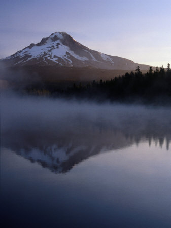 Early Morning Mist Over Mt. Hood Reflected in Trillium Lake, Mt. Hood, USA Photographic Print