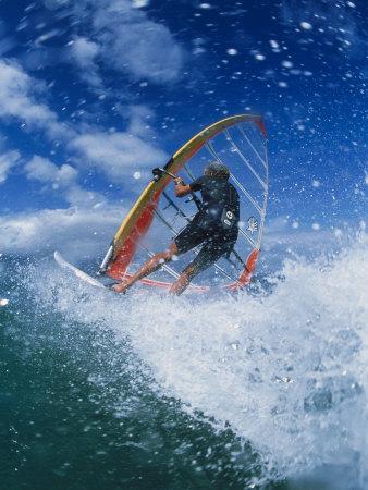 Wind Surfing at Kanaha Beach, HI Photographic Print