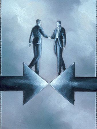 Executives Shaking Hands at Arrows Photographic Print by Karen Stolper