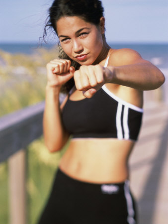 Portrait of a Young Woman Boxing Photographic Print