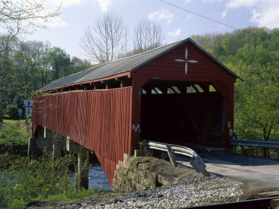 Red Covered Bridge Photographic Print