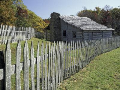Fence and Cabin, Hensley Settlement, Cumberland Gap National Historical Park, Kentucky, USA Photographic Print by Adam Jones