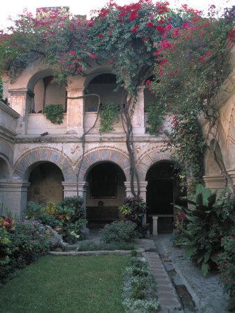Courtyard of the Camino Real Oaxaca Hotel, Bougainvillea and Garden, Mexico Photographic Print by Judith Haden