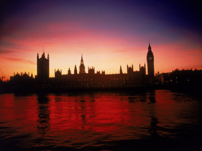 Houses of Parliament at Dusk, London, England Fotografisk tryk