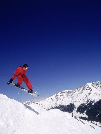 Man Snowboarding (Mid-Air), Arapahoe Basin, CO Photographic Print