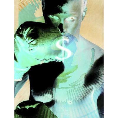 Photographic Negative Image of Man Boxing with Money Symbol Photographic Print