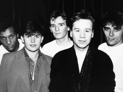 Simple Minds Rock Band from Left Mel Gaynor Charlie Burchill Derek Forbes Jim Kerr and Mick Mcneill Fotografisk tryk