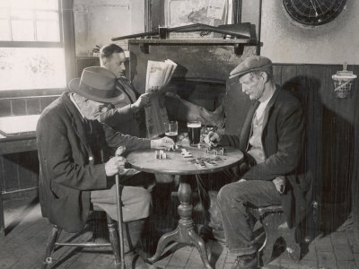 Game of Dominoes in an English Country Pub Photographic Print