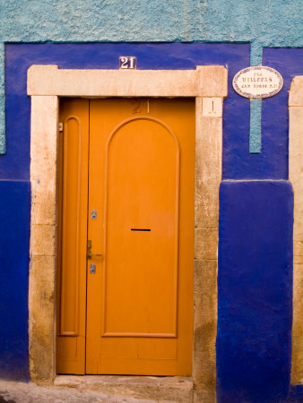 Door on Colorful Blue House, Guanajuato, Mexico Photographic Print by Julie Eggers