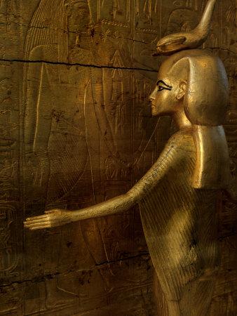 Detail of Goddess Selket, Pharaoh Tutankhamun, Egyptian Museum, Egypt Fotoprint av Kenneth Garrett