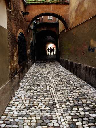 Pedestrians on Cobbled Lane off Ribji Square, Ljubljana, Slovenia Photographic Print