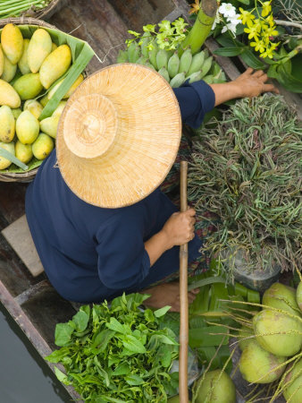 Woman with Straw Hat in Boat, Floating Market, Bangkok, Thailand Photographic Print by Philip Kramer