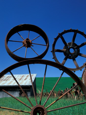 The Wheel Fence and Barn, Uniontown, Whitman County, Washington, USA Photographic Print by Brent Bergherm