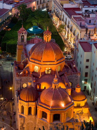 Church of San Diego and Jardin de la Union at Night, Guanajuato, Mexico Photographic Print by Julie Eggers