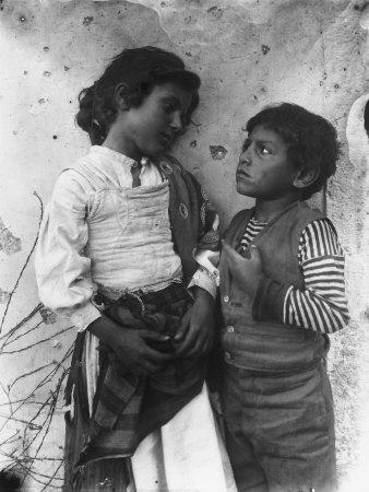 Two Sicilian Children in Folk Costume Photographic Print