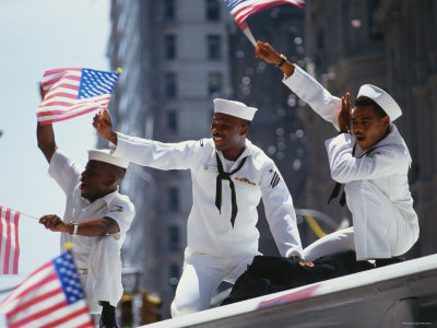 Sailors at Desert Storm Victory Parade Photographic Print