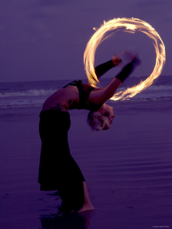 Fire-eater Twirling Fire on the Beach, Samara Beach, Guanacaste, Costa Rica Photographic Print