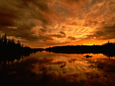 Sunset over Island River Near Lake Superior Photographic Print