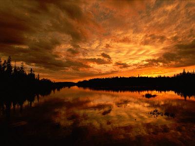 Sunset over Island River Near Lake Superior Photographic Print by Raymond Gehman