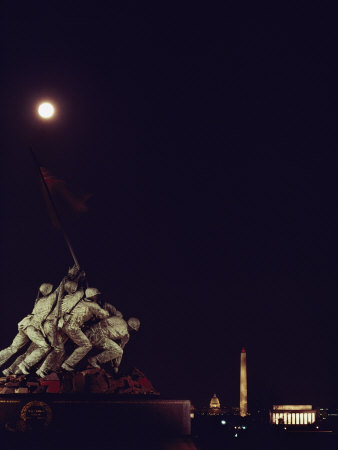 Night View of the Iwo Jima Monument under a Full Moon Photographic Print by Kenneth Garrett