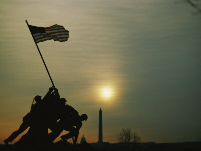Silhouetted View of the Iwo Jima Memorial with the Capitol and Washington