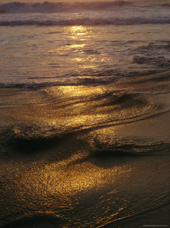 Surf on a Beach at Twilight Photographic Print by Raul Touzon