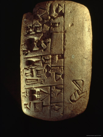 A Description of Commodities Written in Cuneiform on a Mesopotamian Clay Tablet Photographic Print by Lynn Abercrombie