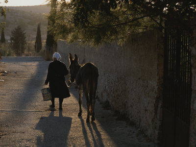 A Woman and Her Donkey Walk Down a Street in Pyrgi, Greece Photographic Print