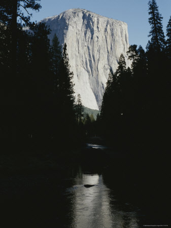 El Capitan Soars Above the Merced River Photographic Print