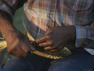 Close View of a Basket Weaver at Work Photographic Print by Michael Melford