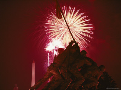 Fourth of July Fireworks over the Iwo Jima Monument Photographic Print by Medford Taylor