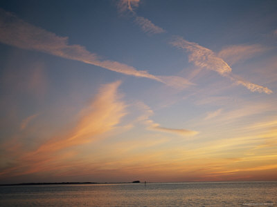 Clouds Crisscross the Sky at Twilight on the Gulf of Mexico Photographic Print by Raymond Gehman