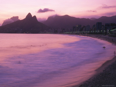 Twilight View of Ipanema Beach and Two Brothers Peaks Photographic Print
