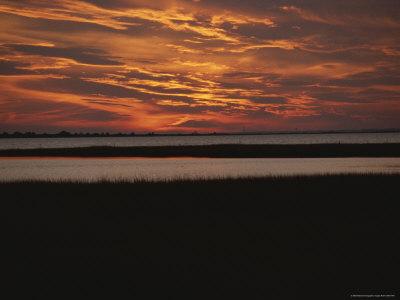 Sunset over a Salt Marsh with Cordgrass Photographic Print by Raymond Gehman