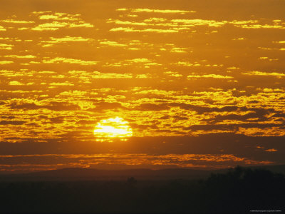 Cloud-Filled Sky at Sunrise Over Outback Plains and a Cattle Station Photographic Print
